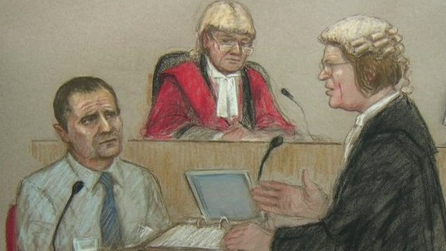 Court drawing of Mark Bridger in court