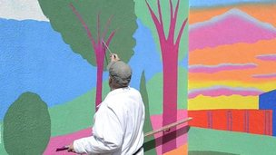 Paul Leith painting mural