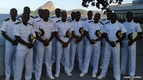 A group of African cadets pose at the Escola Naval in Rio in May 2013
