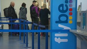 Flybe passengers at Newquay Airport