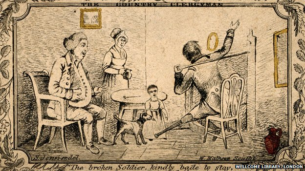 An old soldier with a wooden leg telling a family about his experiences. Etching by W. Matthews after S. Jennen