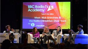 Nick Grimshaw and his breakfast team at an Academy Q&A