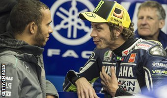 Lewis Hamilton (left) and Valentino Rossi