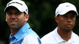 Sergio Garcia (left) and Tiger Woods