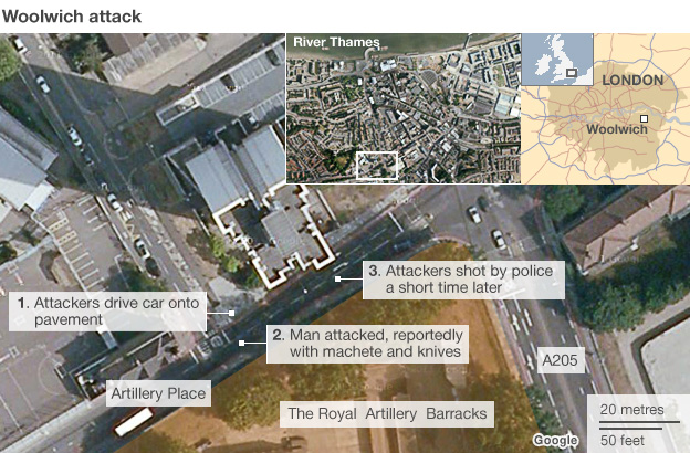 Map showing the area where the attack took place