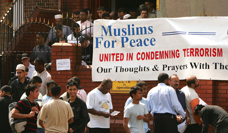 Muslims for Peace sign outside mosque after the 2005 London bombings