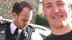 Cyclist Tim Burton and PC Keith James
