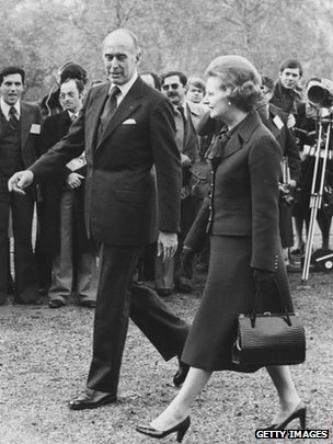 Valery Giscard d'Estaing with the late British Prime Minister Margaret Thatcher in London, November 1979
