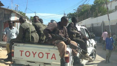 Security guards on a truck in Mogadishu, Somalia - May 2013