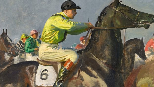 Painting of a jockey