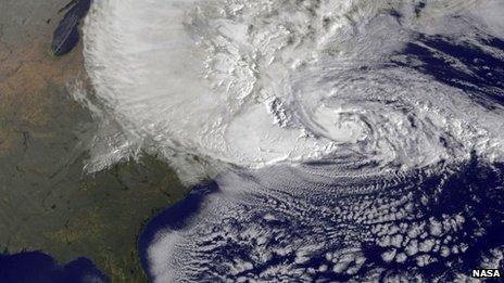 Hurricane Sandy satellite image October 2012