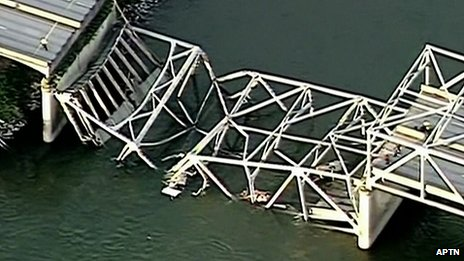 US road bridge falls into river...