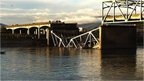 Part of Interstate 5 bridge collapsed in Skagit River near Mount Vernon, Washington. 23 May 2013