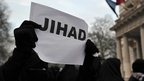 Jihad sign at protest against French action in Mali