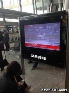 TV news at Heathrow