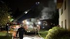 Firefighters put out a fire in a nursery school in Kista, Stockholm, 24 May