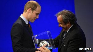 Prince William and UEFA President Michel Platini