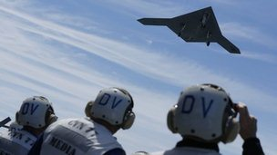 An X-47B drone combat aircraft is launched for the first time off an aircraft carrier, the USS George H. W. Bush, in the Atlantic Ocean off the coast of Virginia, May 14, 2013