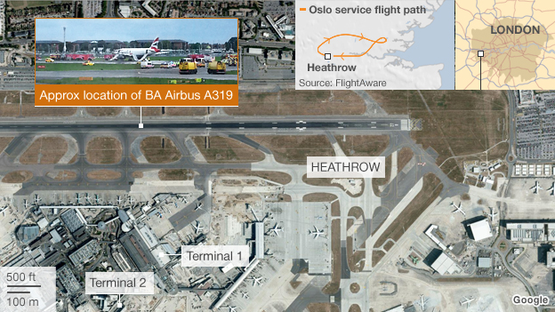 Map of Heathrow and flight path of BA flight to Oslo