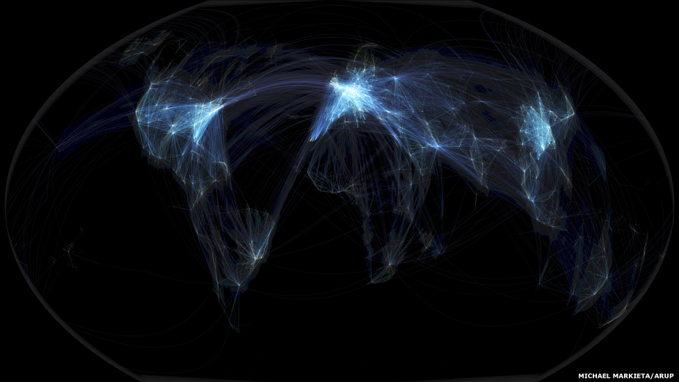 In pictures Global flight paths BBC News