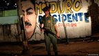 A Venezuelan soldier stands during a patrol at the slum of Petare in Caracas