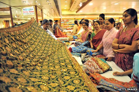 Saree shopping at a mall in Hyderabad