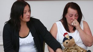 Lyn Rigby, (right) the mother of murdered soldier Lee Rigby, is supported by her daughter Sara McClure