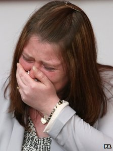 Rebecca Rigby, the wife of murdered soldier Lee Rigby, grieves during a family news conference