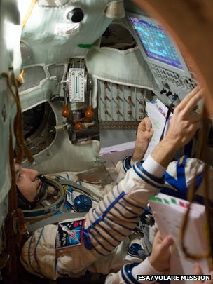 Luca Parmitano in Soyuz left seat
