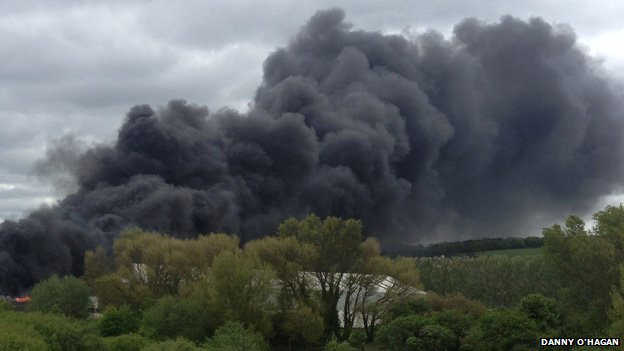 The fire at Greenfield near Holywell, Flintshire