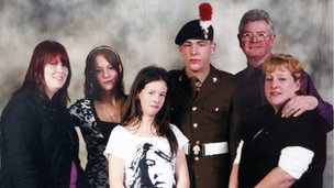 Lee Rigby with his wife Rebecca, sisters Sara McClure and Chelsea Rigby, and his stepfather and mother Ian and Lyn Rigby