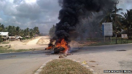 Burning tyres in Mtwara in Tanzania - May 2013