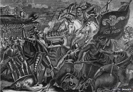 Edward the Black Prince (1330 - 1376) fighting at the Battle of Crecy