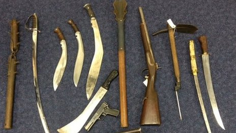 Weapons seized from the shop