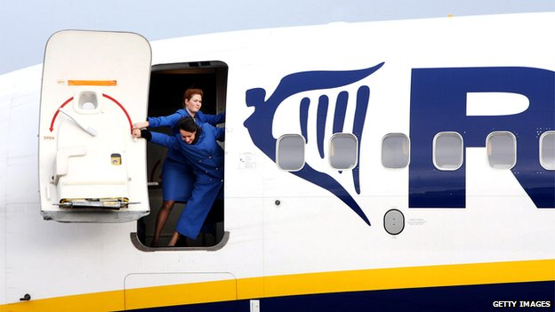 Ryanair flight attendants closing the door of a Boeing 737-800 at the Altenburg-Nobitz airport, eastern Germany, in 2007