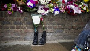 Military boots left in tribute outside Woolwich Barracks