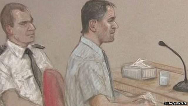 Artist's impression of Mark Bridger in court