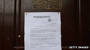 "A statement of condemnation from the Greenwich Islamic Centre is displayed on it""s door condemning the killing of Drummer Lee Rigby"