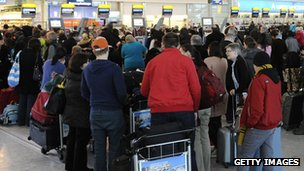 Check-in queues at Heathrow Airport