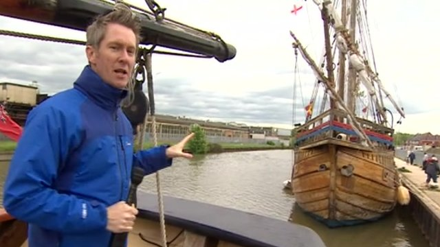 BBC reporter Steve Knibbs on board a tall ship