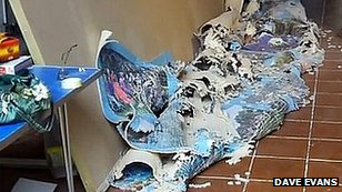 Collapsed jigsaw in Dave Evans' workshop