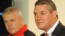 WRU chairman David Pickering and Wales head coach Warren Gatland at a media conference