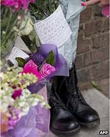 Floral tributes left in Woolwich