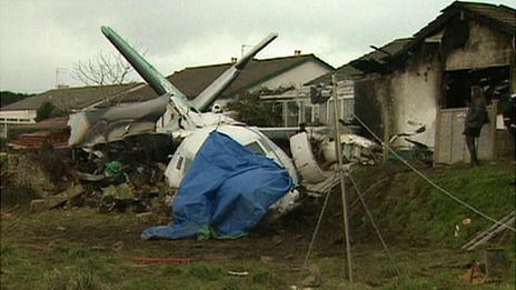 Channel Express plane crash in a field in the Forest, Guernsey, in January 1999