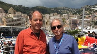 Gerhard Berger and Michael Douglas at Monaco