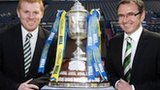 Celtic boss Neil Lennon and Hibs manager Pat Fenlon (right) with the Scottish Cup