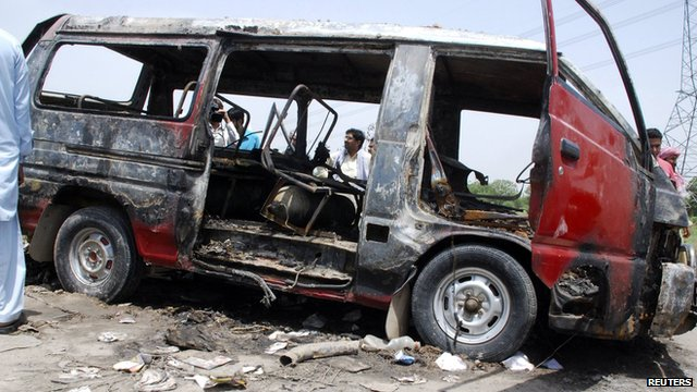 Pakistani dhildren in bus fire
