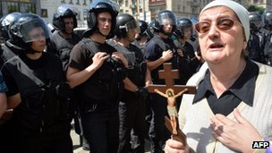 An Orthodox Church activist denounced the gay pride march in Kiev. Photo: 25 May 2013