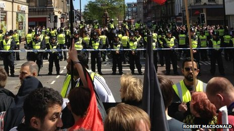 EDL and Newcastle Unites marches in Newcastle city centre