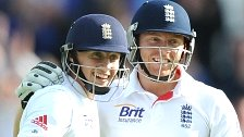 Yorkshiremen Joe Root (left) and Jonny Bairstow celebrate for England at Headingley